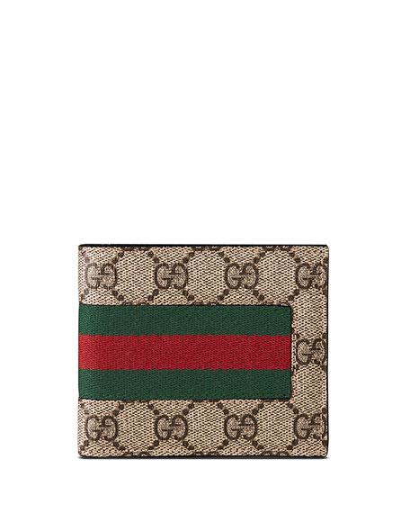 Gucci Web GG Supreme Canvas Wallet, Beige