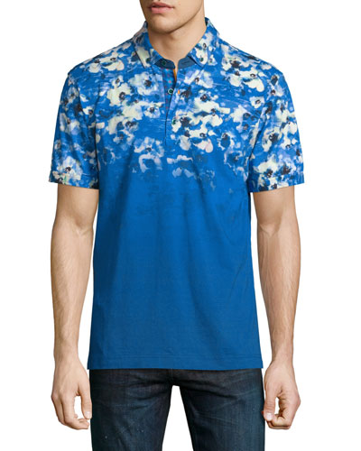 Compania Floral-Printed Short-Sleeve Polo Shirt, Blue/White