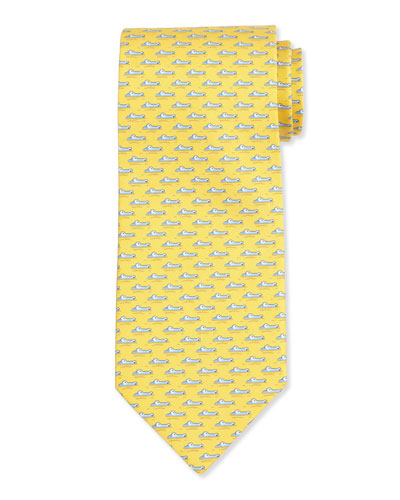 Alligator-Printed Silk Tie, Yellow