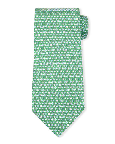 Fish-Print Silk Tie, Green/Blue
