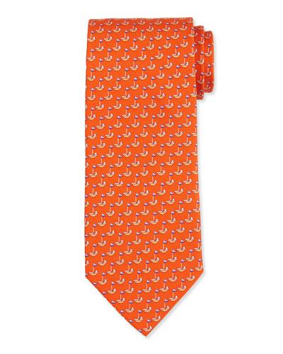 7178a4839c18 Salvatore Ferragamo Sailboat-Printed Silk Tie