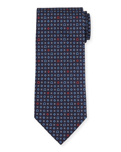 Geometric Gancini-Print Silk Tie, Navy/Red