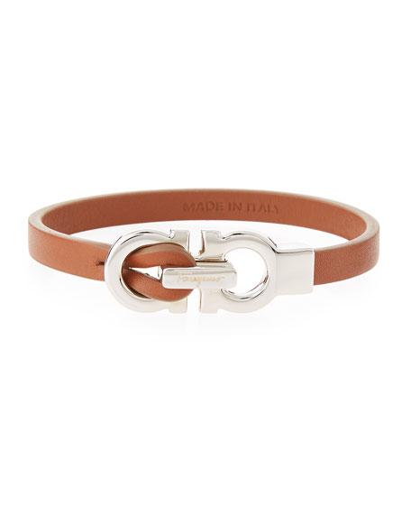 Salvatore Ferragamo Gancini Leather Bracelet, Brown