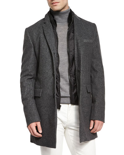 Birdseye Wool Coat with Nylon Gilet, Charcoal