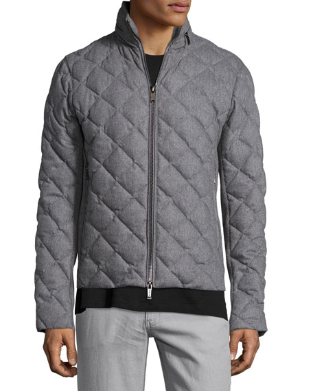 Michael Kors Diamond-Quilted Flannel Jacket, Gray