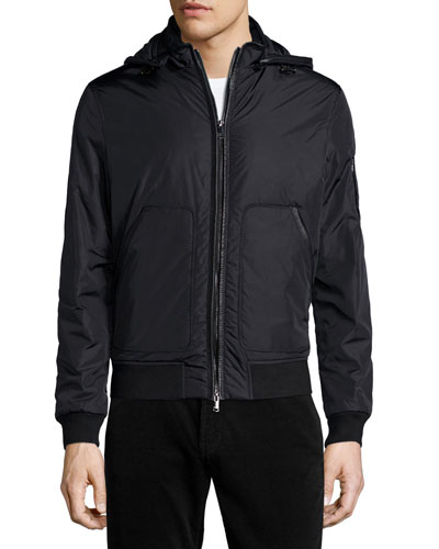 Nylon Hooded Bomber Jacket, Black