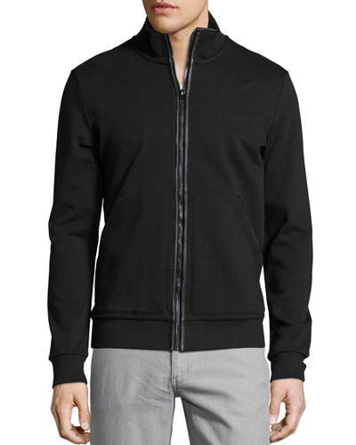 Full-Zip Track Jacket with Leather Trim, Black