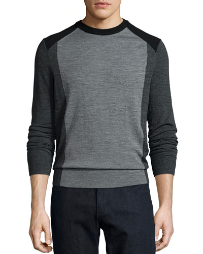 Colorblock Crewneck Wool Sweater, Gray