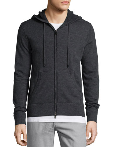 Full-Zip Wool Hoodie, Charcoal