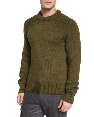 Textured Knit Crewneck Sweater, Dark Green