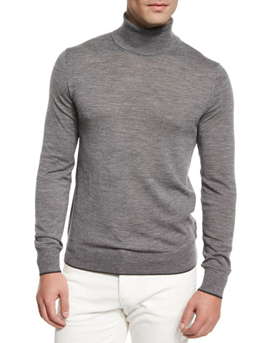 Merino Wool Turtleneck Sweater, Gray