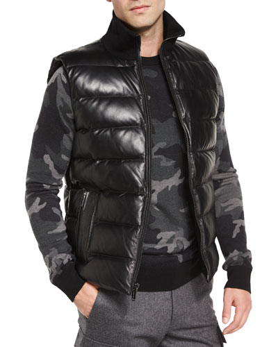 Leather Puffer Down Vest, Black