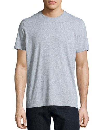 Crewneck Short-Sleeve Jersey Tee, Gray