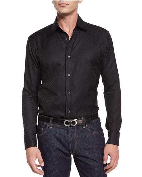 Tonal Gancini-Print Jacquard Shirt, Black