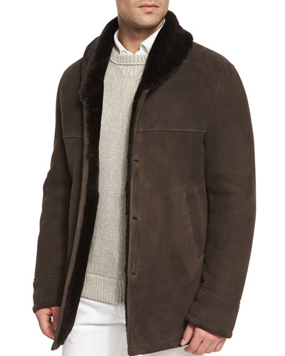 Uptown Button-Down Shearling Jacket, Dark Brown