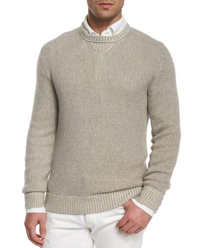 Baby Cashmere Textured Crewneck Sweater, Beige