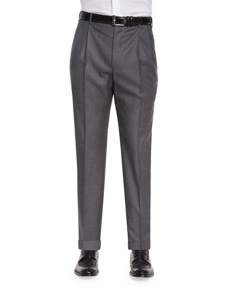 Zanella Bennett Pleated Super 150's Trousers, Charcoal