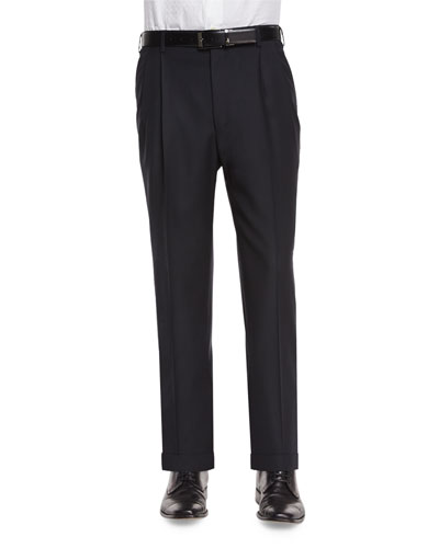 Pleat-Front Dress Pants, Black