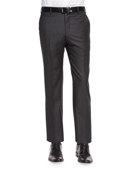 Zanella Parker Flat-Front Super 150's Trousers, Charcoal