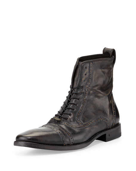 John Varvatos Brogue Leather Lace-Up Boot, Black