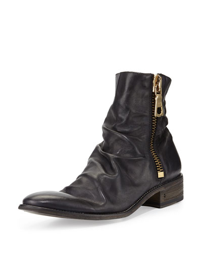 Richards Leather Zip Boot, Black