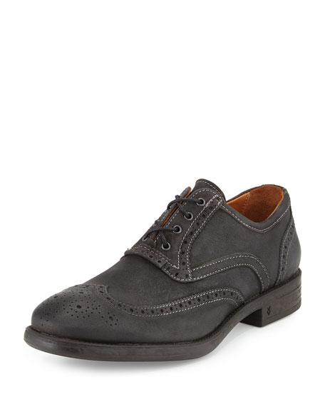 John Varvatos Bleecker Leather Wing-Tip Shoe, Gray