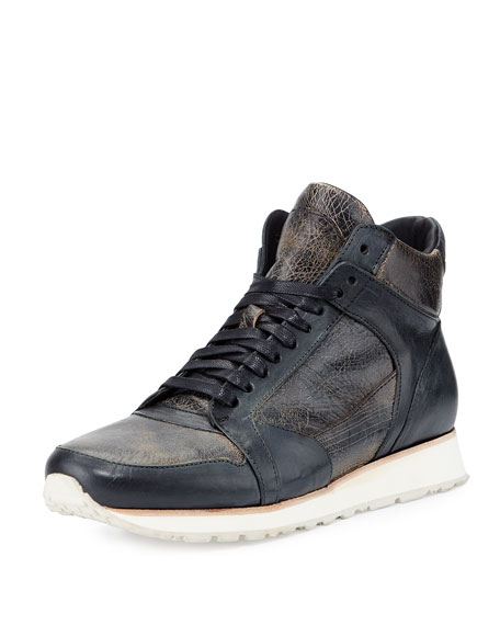John Varvatos 315 Mid Leather Trainer Sneaker Black