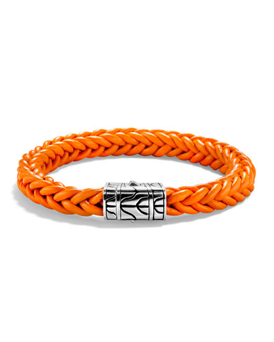 Men's Classic Chain Silver/Leather Bracelet, Orange