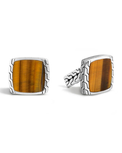 Batu Classic Chain Tigers Eye Cuff Links