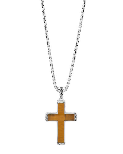 Classic Chain Tiger's Eye Cross Pendant Necklace