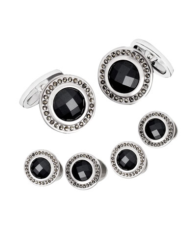Faceted Hematite Cuff Links & Stud Set