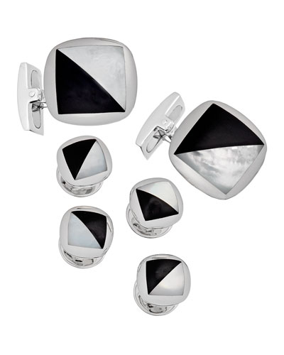 Mother-Of-Pearl & Onyx Tuxedo Cuff Links & Stud Set