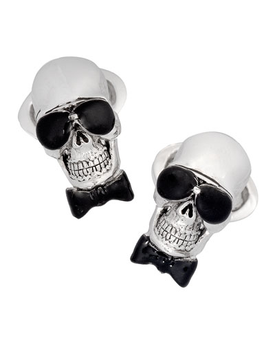 Skull with Bow Tie Cuff Links, Silver