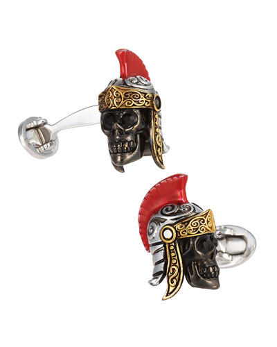 Skull Head Gladiator Cuff Links, Silver/Red/Black