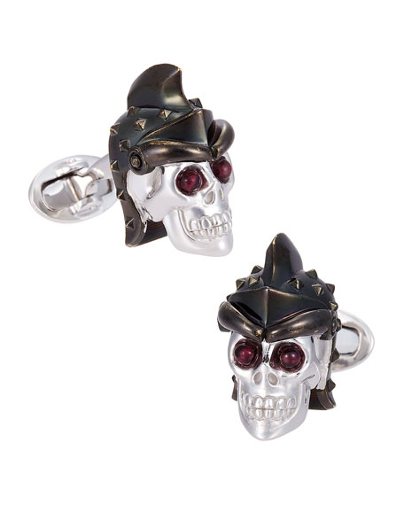 Jan Leslie Skull Head with Helmet Cuff Links
