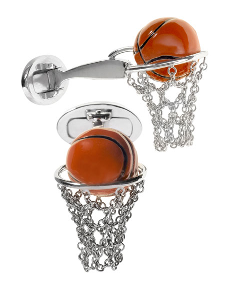 Jan Leslie Basketball Hoop Cuff Links, Silver/Orange
