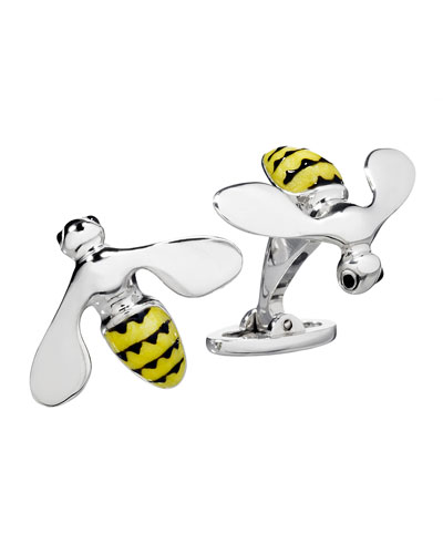 Bee Cuff Links, Silver/Yellow