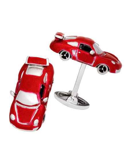 Jan Leslie Fast Race Car Cuff Links, Silver/Red