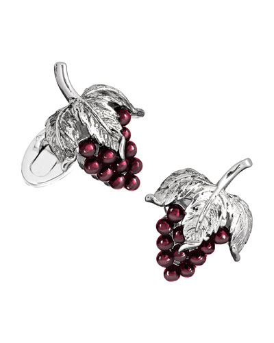 Garnet Grape Cuff Links, Silver/Purple