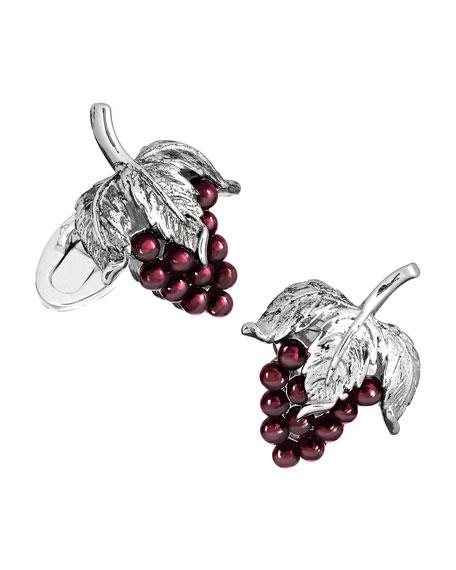 Jan Leslie Garnet Grape Cuff Links, Silver/Purple