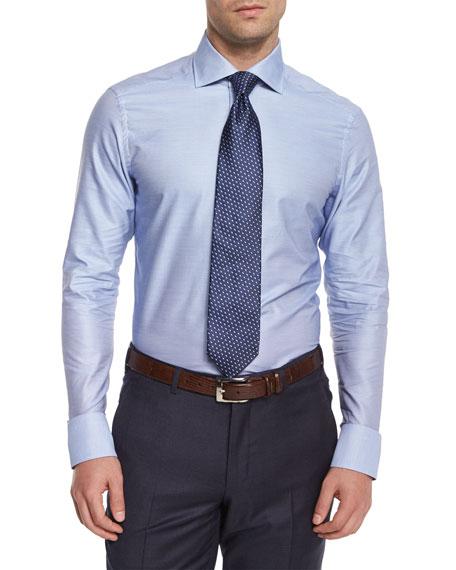 Solid Long-Sleeve Woven Shirt, Dark Blue
