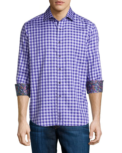 Dartmoor Check Sport Shirt, Purple