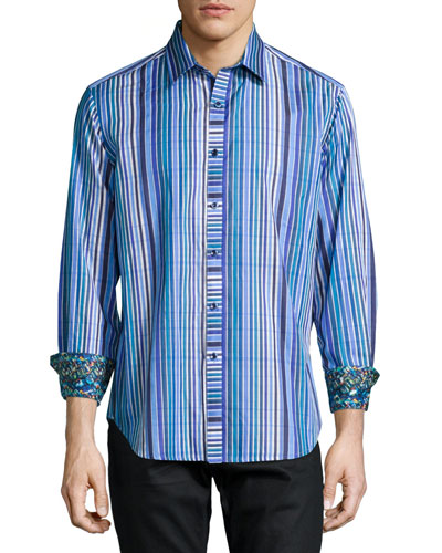 Exmoor Striped Long-Sleeve Sport Shirt, Blue