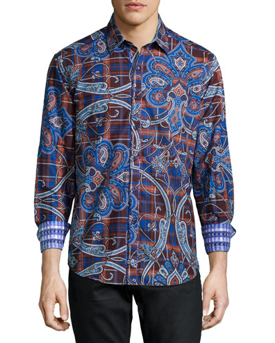 Queens Guard Paisley-Print Sport Shirt, Blue