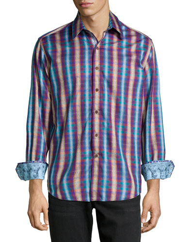 Chiswick Plaid Long-Sleeve Sport Shirt, Teal