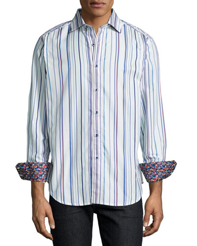 Nottingham Striped Sport Shirt, Ivory
