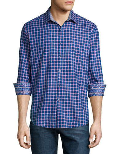 Waterford Box-Check Long-Sleeve Sport Shirt, Teal