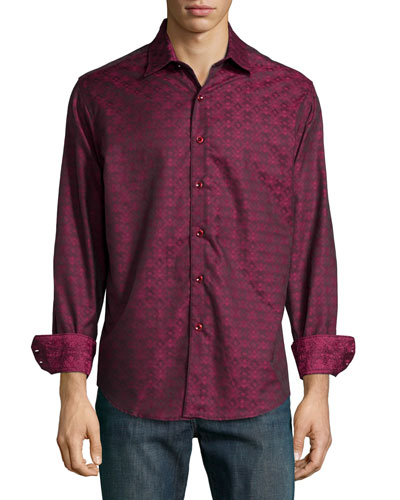 O'Donnell Printed Long-Sleeve Sport Shirt, Red