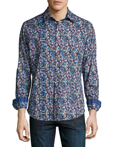 Nessie Printed Long-Sleeve Sport Shirt, Blue