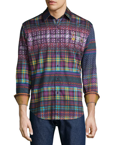 Kilt Multi-Print Sport Shirt, Purple
